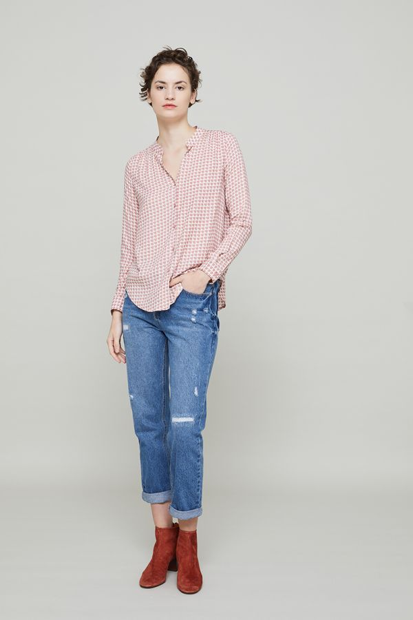 POPPY COLLARLESS SHIRTS