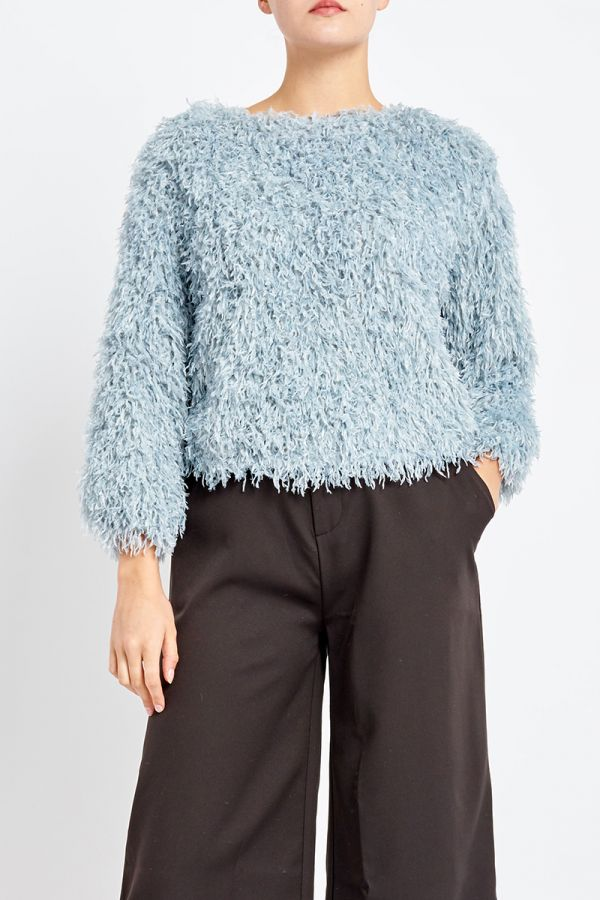 FUZZY YARN KNIT TOP
