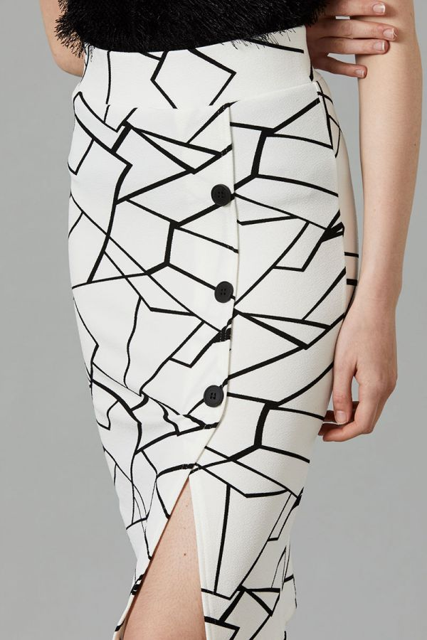 GABRIELA BUTTON DETAIL PENCIL SKIRT