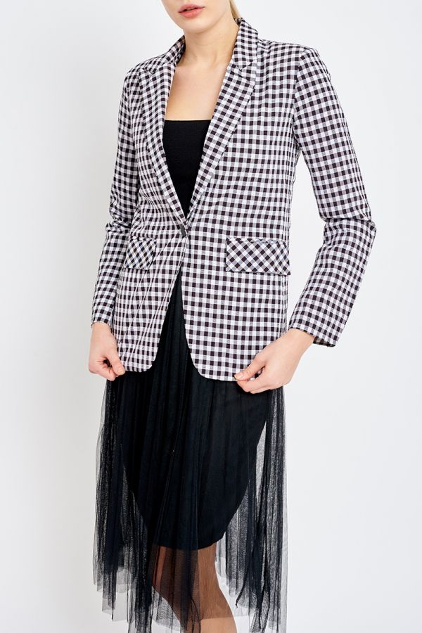 GINGHAM ONE BUTTON JACKET