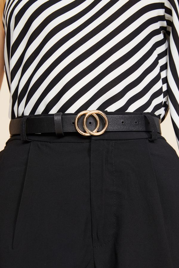 GOLD DOUBLE RING THIN BELT
