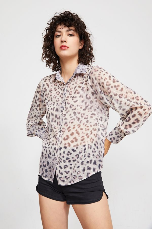 VALENTINA TIGER PRINT LONG SLEEVE TOP