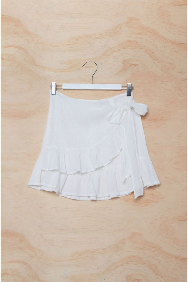 PICO RUFFLED WRAP MINI SKIRT