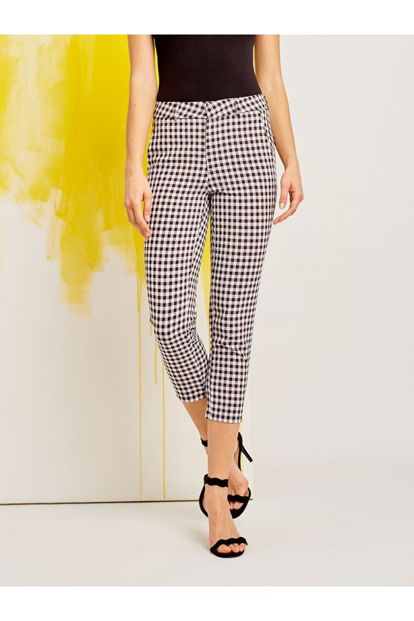 GINGHAM TAPERED PANTS