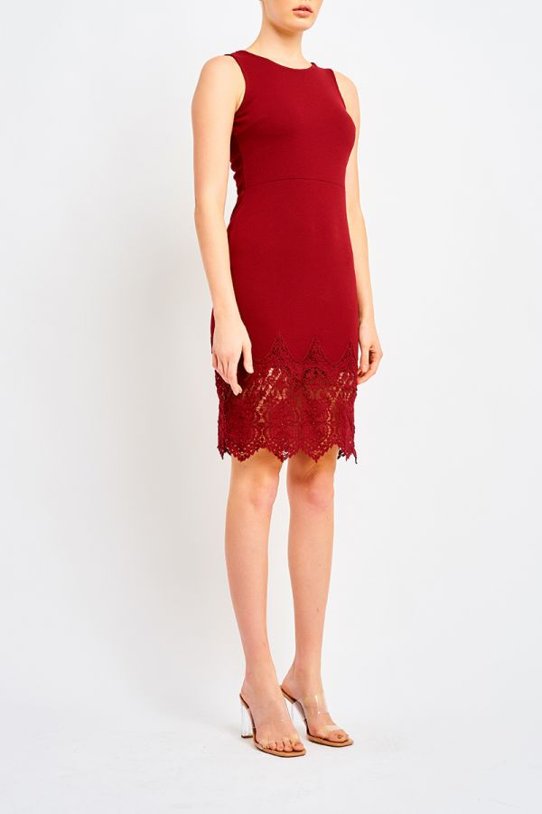 MAISIE LACE HEM MIDI DRESS