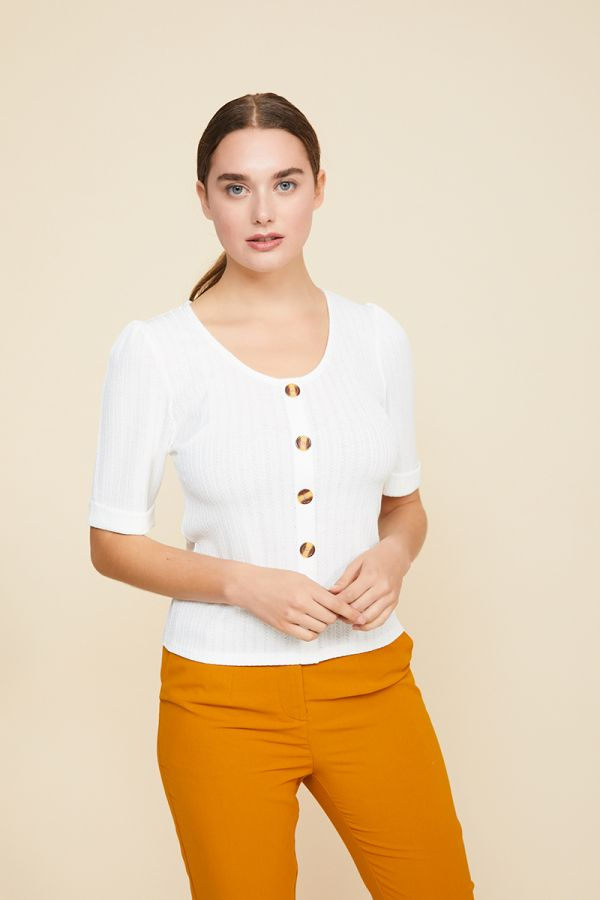 MERRIE BUTTON DETAIL TOP (322169)