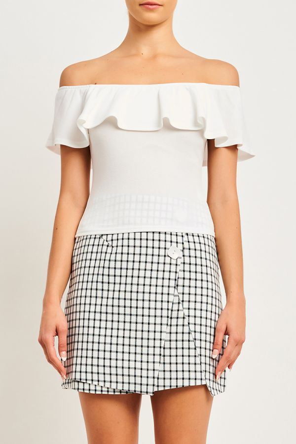 FRILL OFF SHOULDER TOP