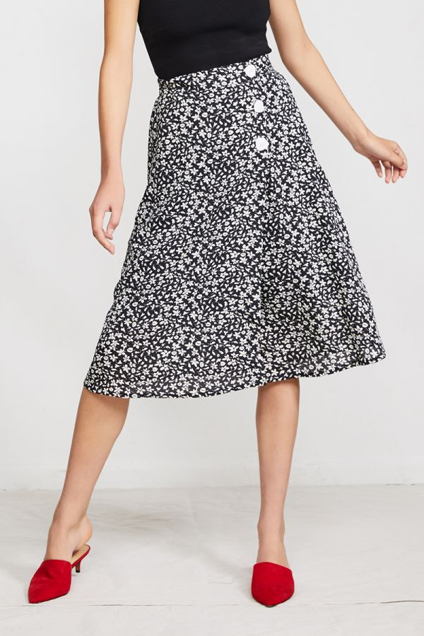 SOPHIE BOTTON UP MIDI SKIRT