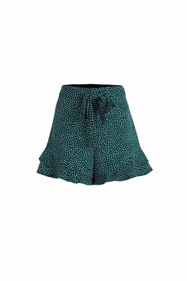 SPOTTED TIE WAIST RUFFLE SHORTS