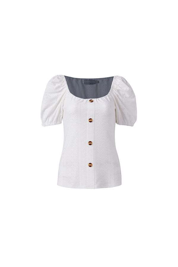 KATRIN BUTTON THRU PEASANT TOP