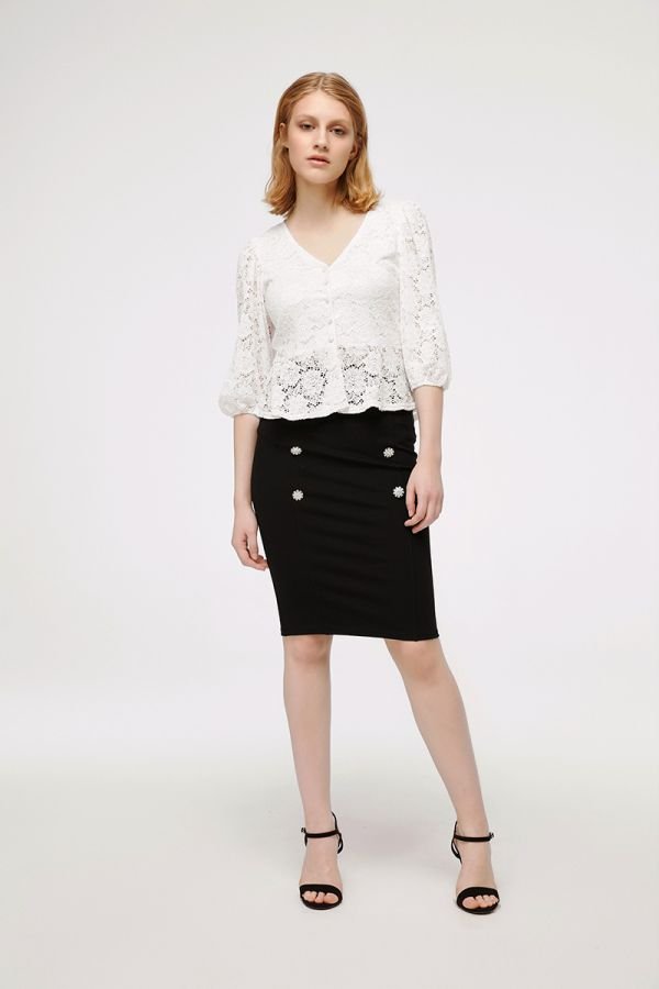 MAGNOLIA PEPLUM LACE TOP (323145)