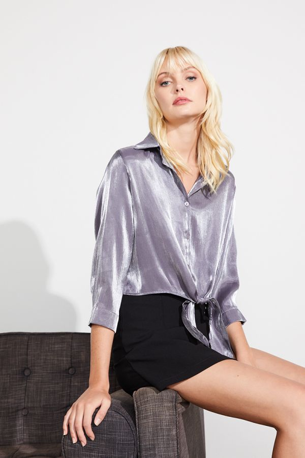 KYRA TIE FRONT LONG SLEEVE BLOUSE