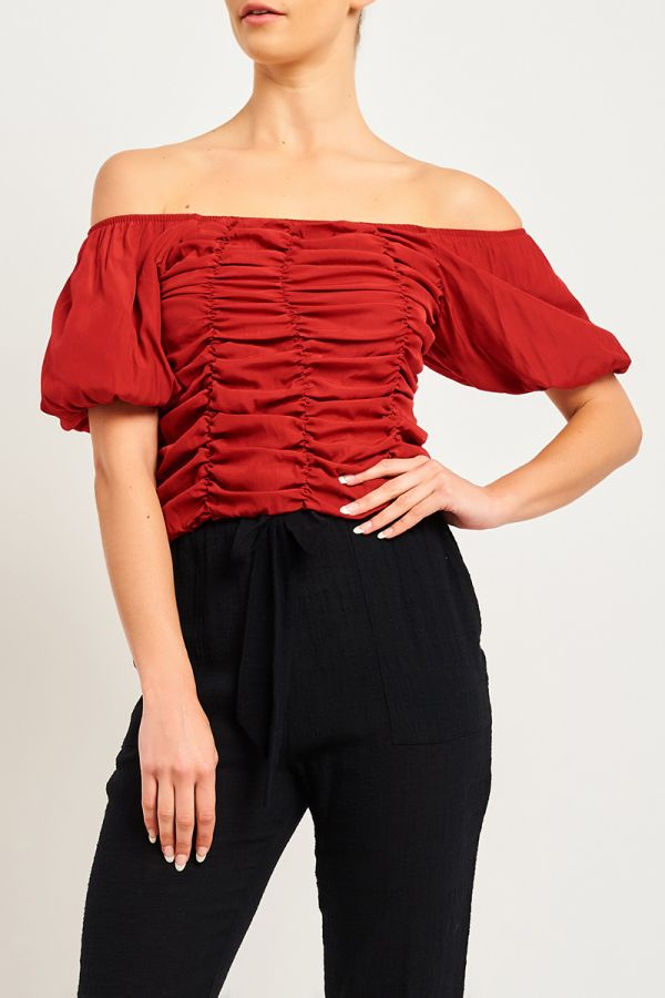 LIZ RUCHED PUFF SLEEVE TOP