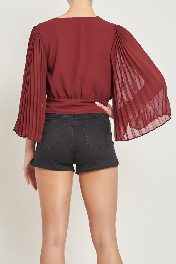 ROSA PLEATED SLEEVE TOP