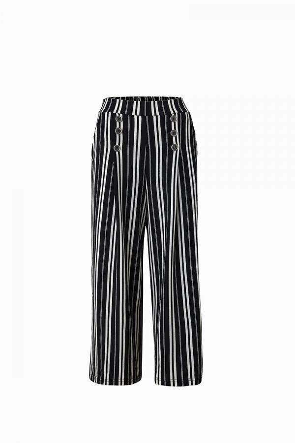 GERRI BUTTON DETAIL WIDE LEG PANTS