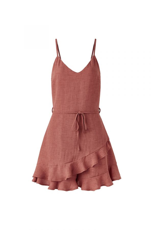 HARRIET RUFFLE HEM SPAGHETTI STRAP PLAYSUIT (323545)