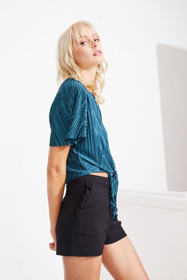 MERIAM TIE FRONT PLEATED TOP