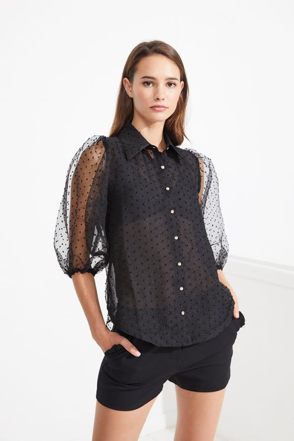 VIRGINIA BOTTON UP MESH BLOUSE