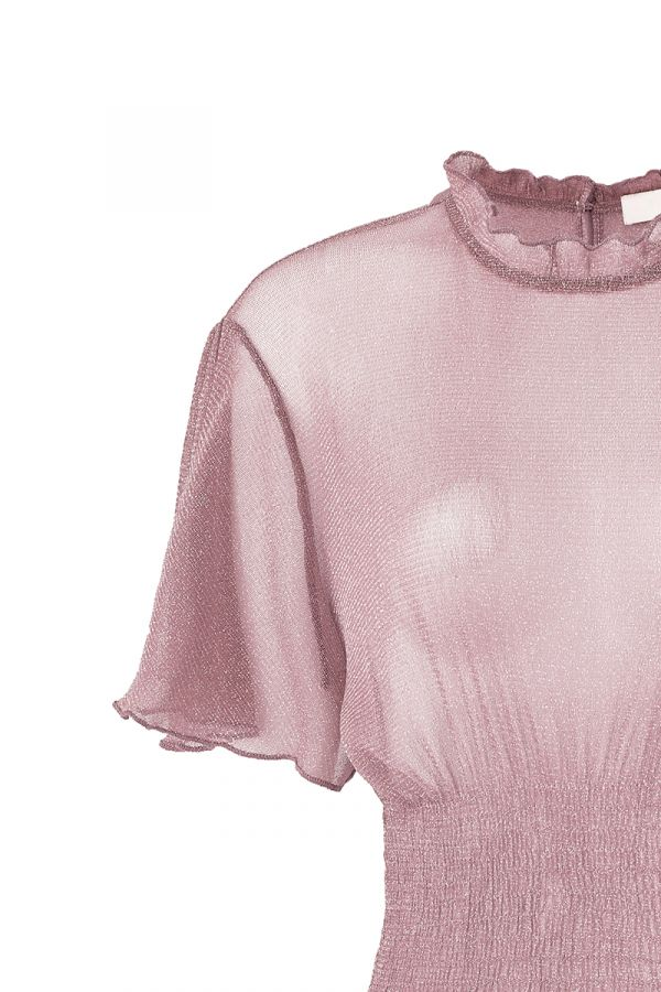 AGNES SMOCKED DETAIL SHEER TOP (323666)