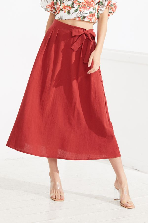 MARIA SIDE TIE MIDI SKIRT (323743)