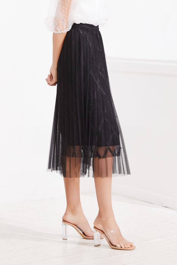 VALENTINA PLEATED MESH MIDI SKIRT