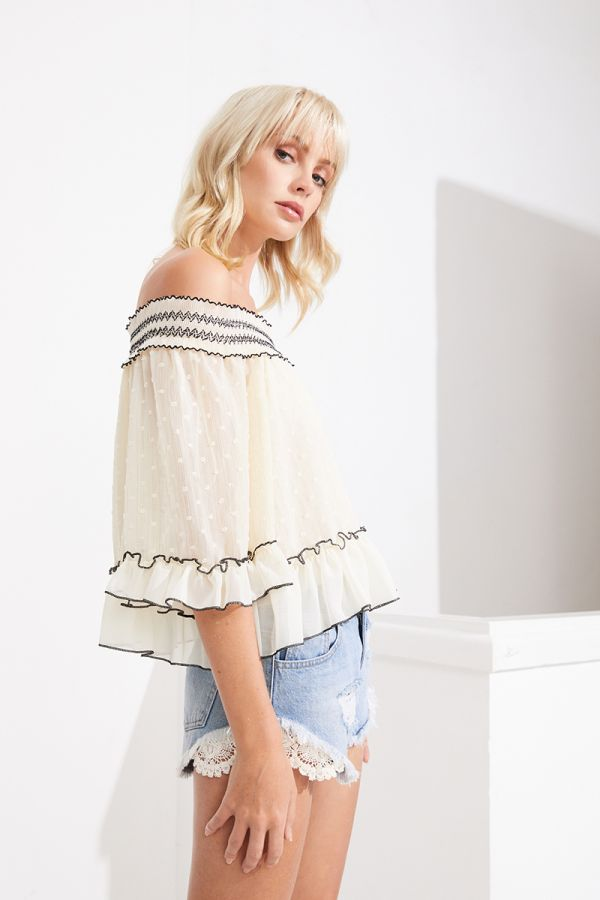 MARINA OFF SHOULDER BRODERIE BLOUSE