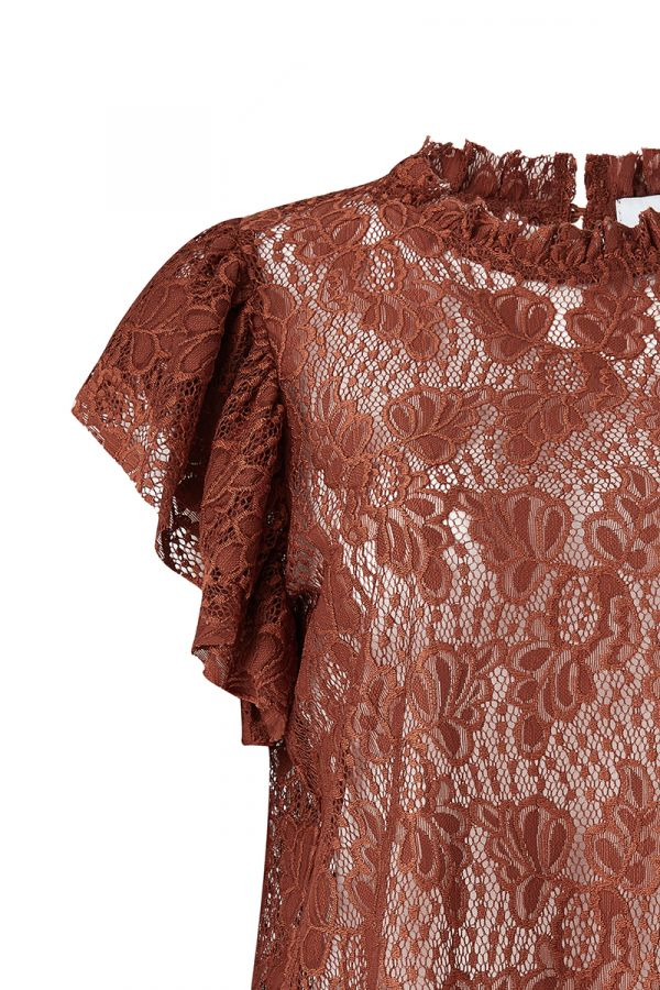 ROCHELLE FLUTTER SLEEVE LACE TOP (323909)