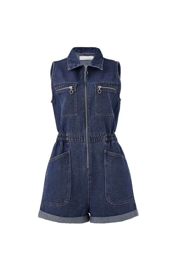 DANII ZIP DETAIL DENIM PLAYSUIT (323941)