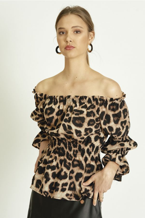LEOPARD OFF SHOULDER TOP (324070)
