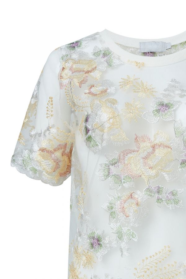 LUCILLE EMBROIDERED SHEER TOP (324127)