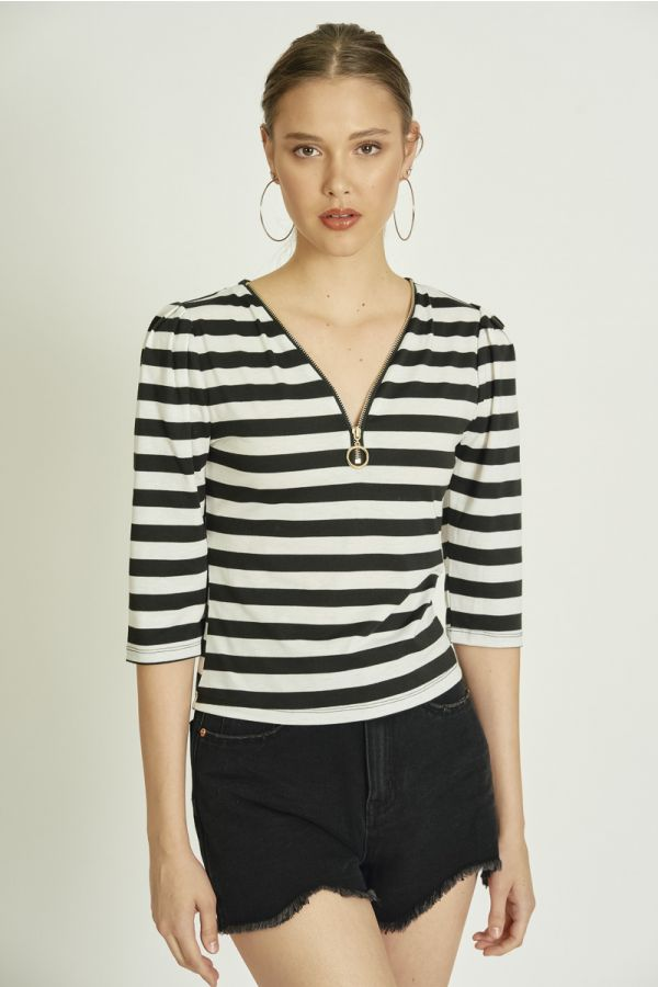 FRONT ZIPPER DETAILSTRIPE TOP (324148)