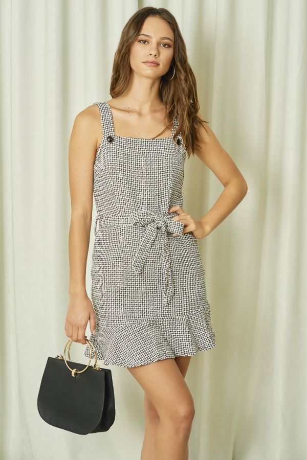 TWEED PEPLUM PINAFORE DRESS (324182)