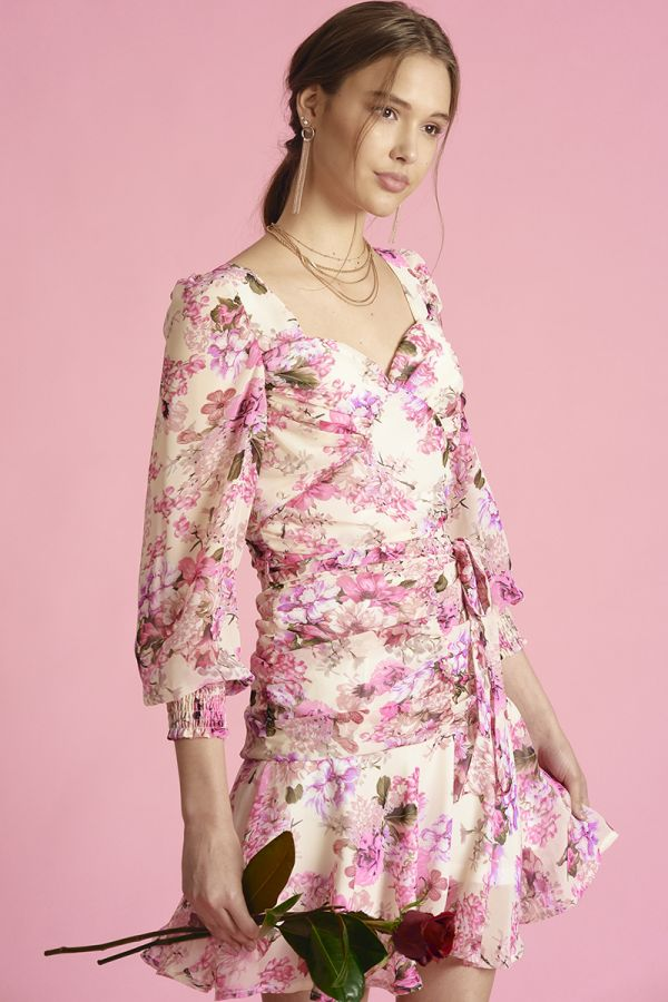 DRAPERY SHIRRING FLORAL DRESS (324202)