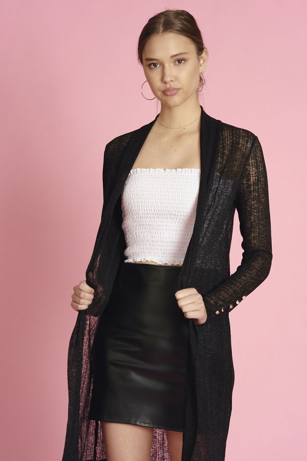 LONG CARDIGAN WITH BUTTON DOWN SLEEVES (324236)
