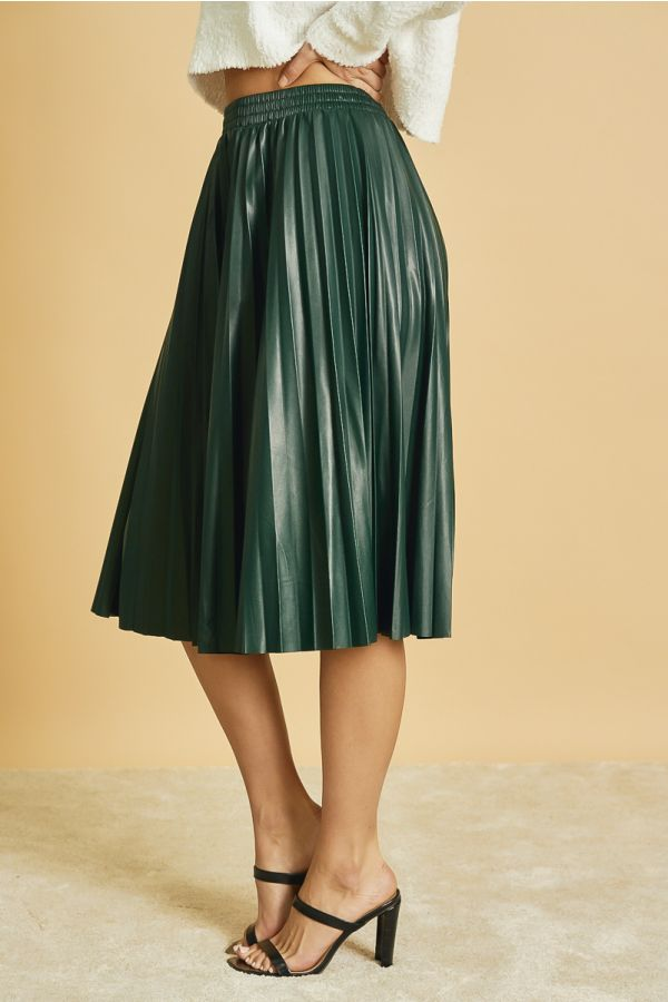 PU PLEATED SKIRT  (324256)