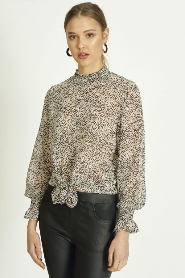PRINTED LONG SLEEVE TIE UP TOP (324272)