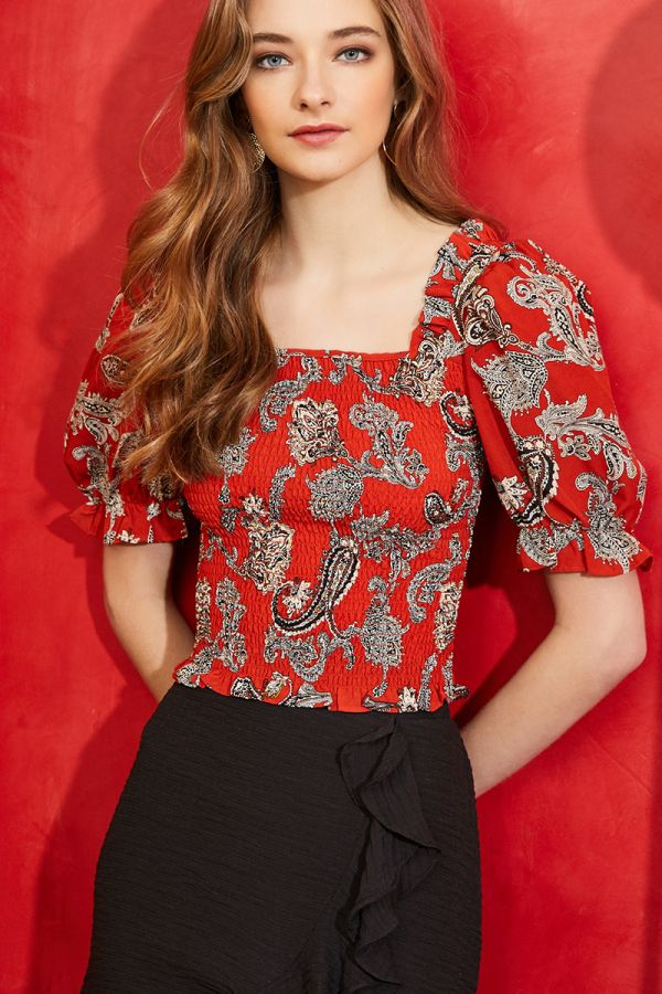 SOL SHIRRED PUFFY SLEEVE TOP (324305)