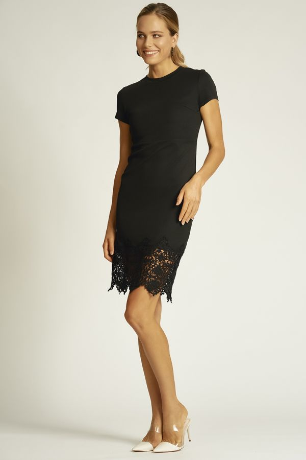 HIGH NECK LACE HEM DRESS (324315)
