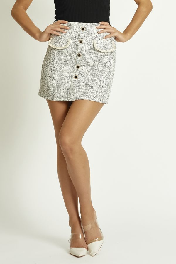 BUTTON DOWN TWILL MINI SKIRT (324358)
