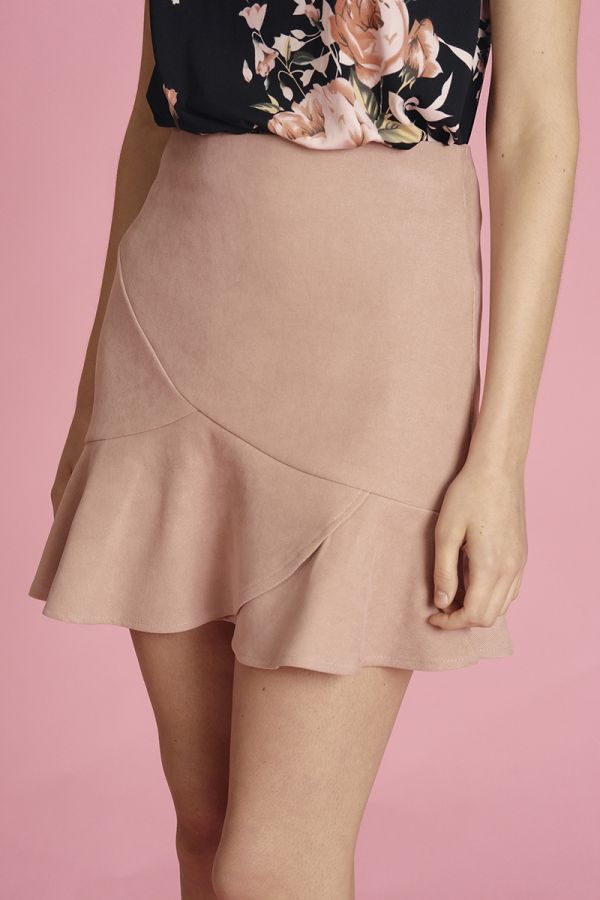 MINI SKIRT WITH RUFFLES HEM  (324383)