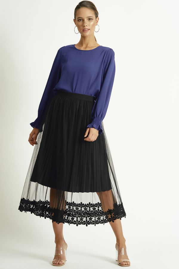 PLY SMOCKING NECK TOP (324491)