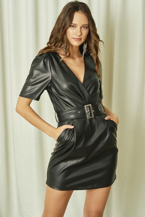 BELTED LEATHER DRESS (324504)
