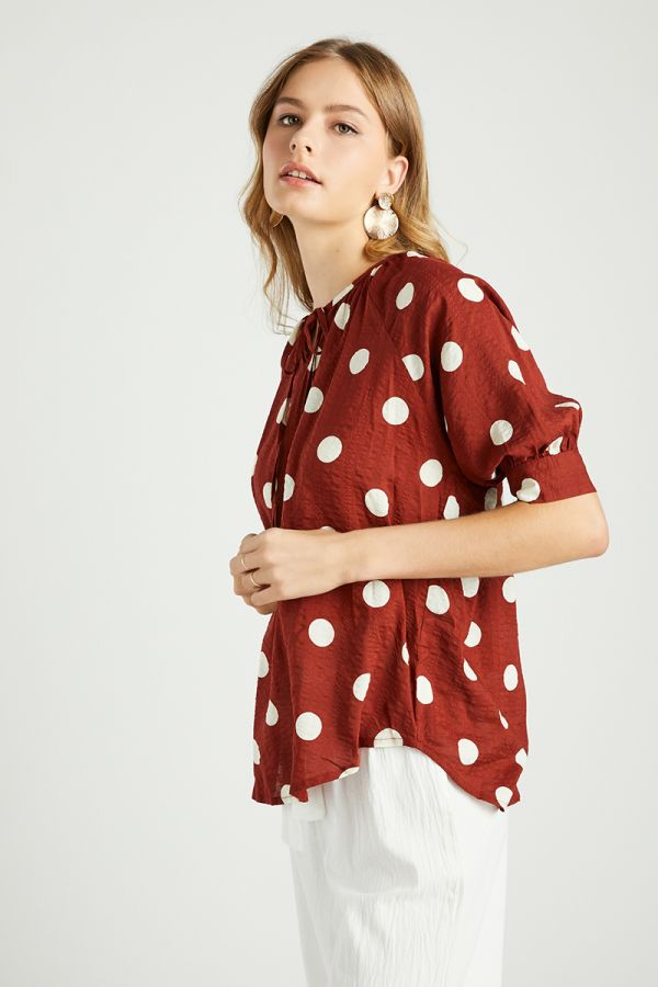 POLKA DOT QUARTER SLEEVE TOP (324515)