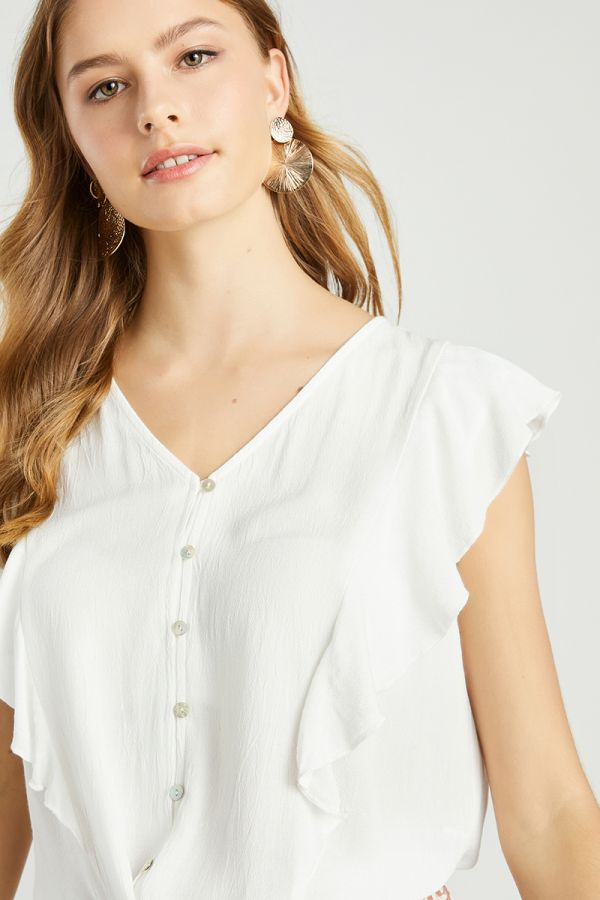 RUFFLE TIE UP SLEEVELESS SHIRT (324556)