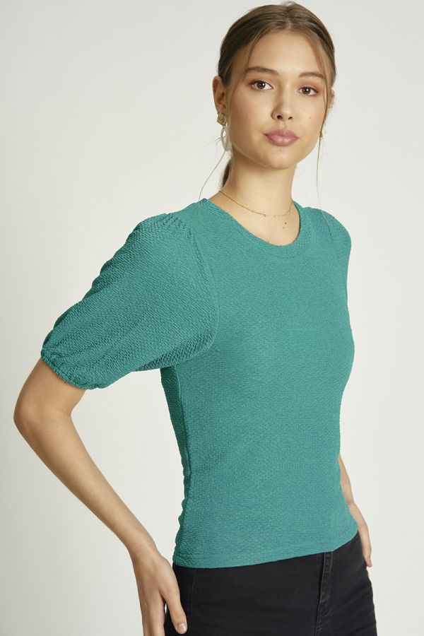 ROUND NECK VOLUME SLEEVE TOP (324587)
