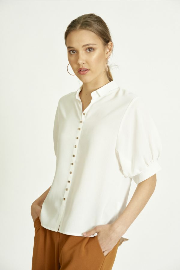 BUTTON DOWN WOVEN TOP (324629)