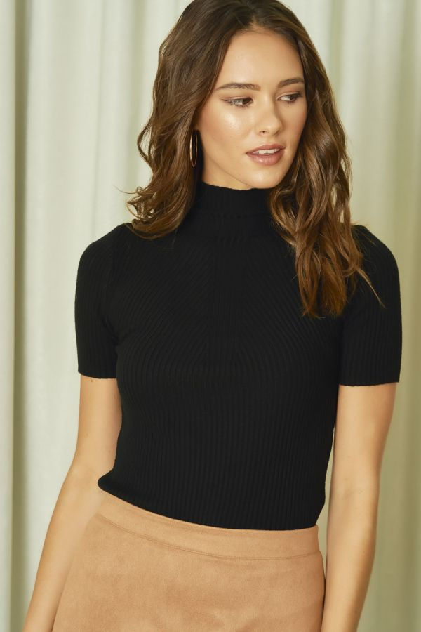 HIGH NECK FITTED KNIT TOP (324634)