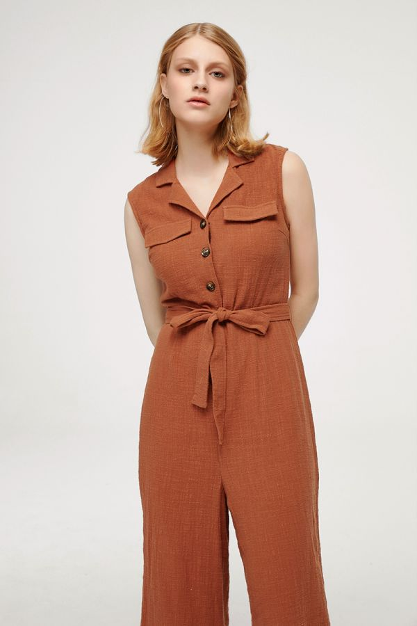 DAHLIA COLLARED SLEEVELESS JUMPSUIT (324703)