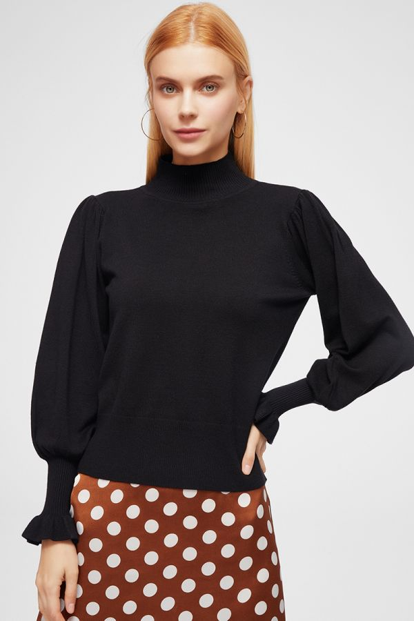 PUFF SLEEVE KNIT TOP (324725)