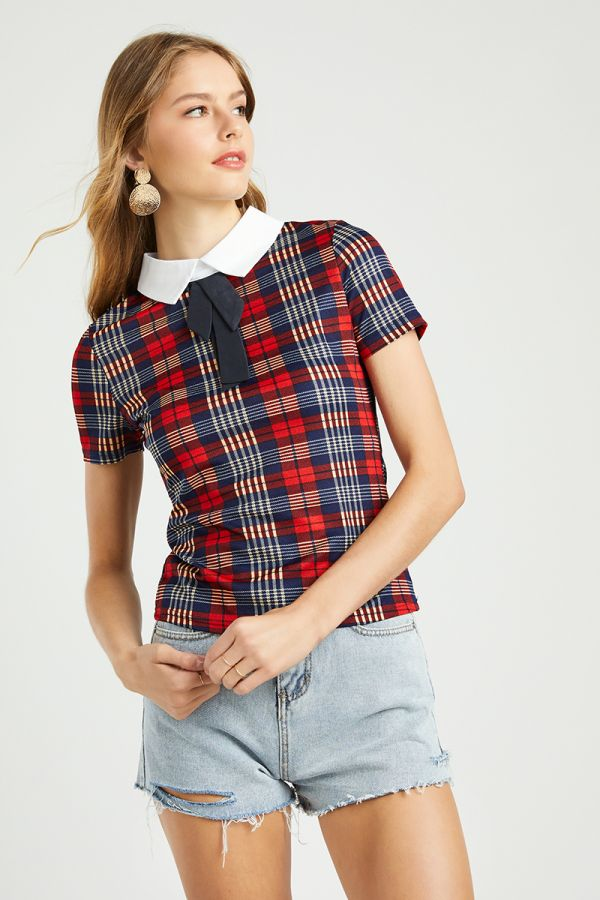 COLLARED CHECK TOP  (324739)